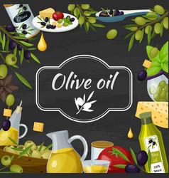 Olive oil cartoon blackboard composition vector
