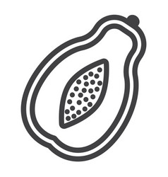 Papaya line icon fruit and tropical vector