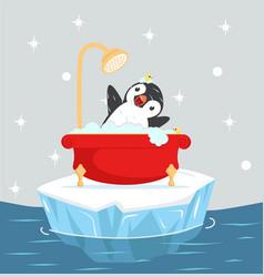 Penguin bath with foam on iceberg floating vector