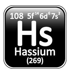 Periodic table element hassium icon vector