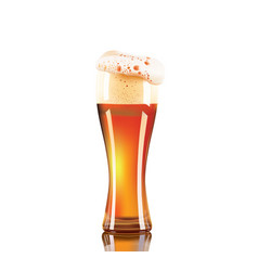 photo-realistic beer glass isolated on white vector image