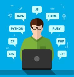Programmer working on computer vector