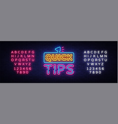 quick tips neon signs quick tips design vector image