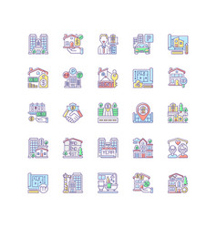 Real estate rgb color icons set vector