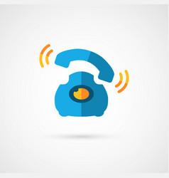 Retro wire telephone icon vector