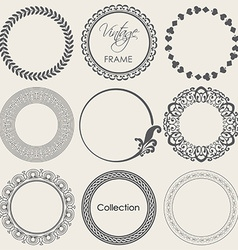 Round vintage frame collection vector