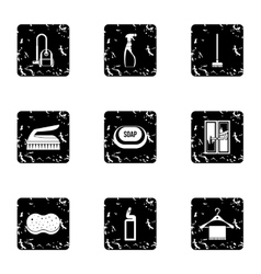 Sanitary day icons set grunge style vector