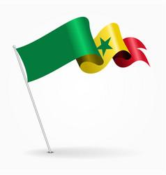 Senegalese pin wavy flag vector