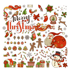 Set of merry christmas symbols decorations design vector