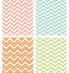 Set of retro zig zag seamless backgrounds vector