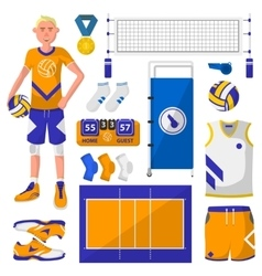 set symbols logos and icons volleyball vector image