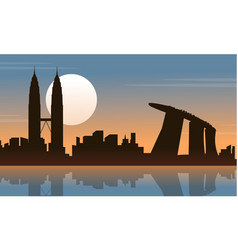 silhouette of malaysia singapore city tour scenery vector image