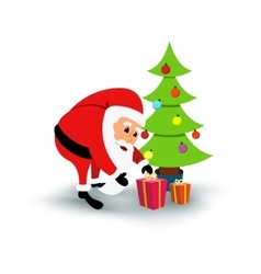 Smiling cartoon Santa Claus with gifts under green vector image