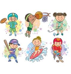 Sporting kids vector image