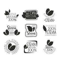 Stevia organic product logo set natural sweetener vector