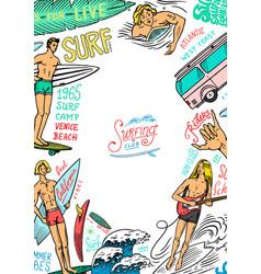 surf poster vintage surfer banner retro wave vector image
