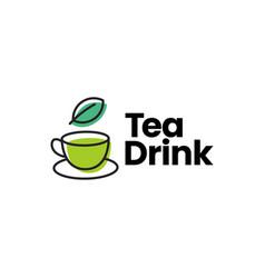 tea drink cup leaf logo icon vector image