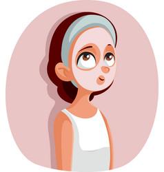 Teen girl with beauty face mask treatment cartoon vector