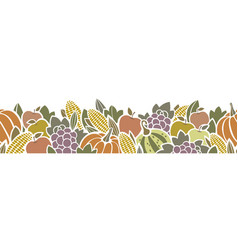 Thanksgiving harvest seamless border pattern vector