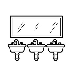 three sink mirror for toilet bathroom equipment vector image