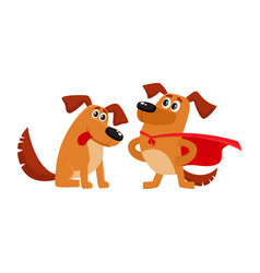 Two dog characters in superhero cape admiring vector