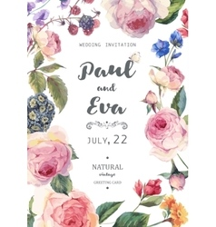 Vintage floral roses wedding invitation vector