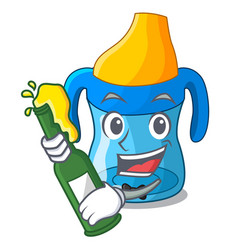 with beer baby training cup isolated on mascot vector image