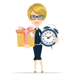 Woman holding alarm clock and a box gifts vector