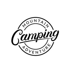 camping hand written lettering logo vector image