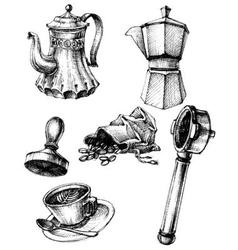 Coffee and coffee making set retro style vector image vector image