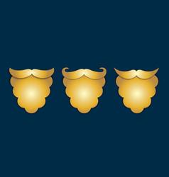 Abstract golden paper santas beard with shadows 3 vector