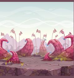 cartoon fantasy landscape with unusual plants vector image vector image