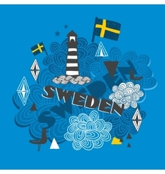 Cool emblem with swedish symbols vector image