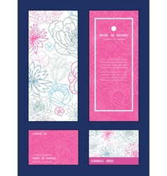 gray and pink lineart florals vertical vector image