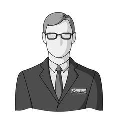 Male realtorrealtor single icon in monochrome vector