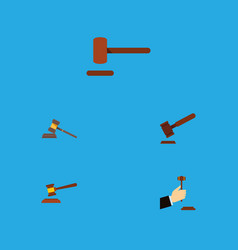 flat icon hammer set of law hammer court and vector image vector image