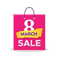 flat shopping bag with 8 march sale promo text vector image