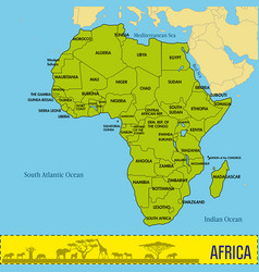Map of africa with all countries vector