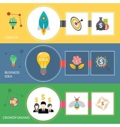 Startup crowdfunding flat horizontal banners set vector image vector image