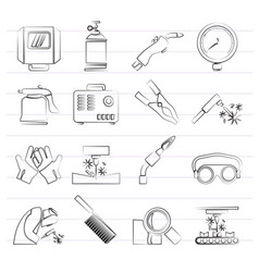 welding and construction tools icons vector image vector image