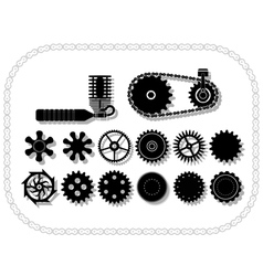 wheels and mechanisms silouhettes inside a bycicle vector image