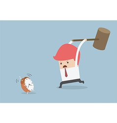 Businessman is trying to smash alarm clock by usin vector image vector image