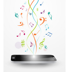 colorful music notes out of smart phone vector image vector image