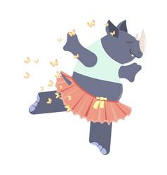 cute rhinoceros ballerina vector image vector image