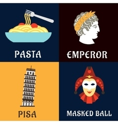 Italian culture history and cuisine flat icons vector image