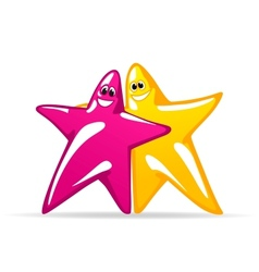 Smiling glossy stars vector image vector image