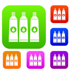 Three tubes with paint set collection vector