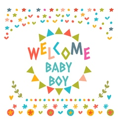 Welcome baby boy shower card Cute postcard with vector image
