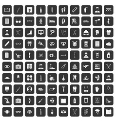 100 medical treatmet icons set black vector