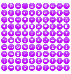 100 park icons set purple vector